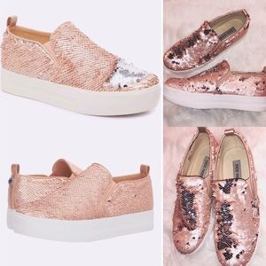 Steve Madden Rose Gold Sequin Sneakers✨Size 7 1/2!